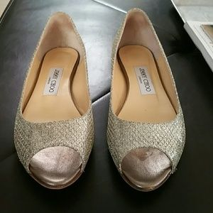 Jimmy Choo silver and gold flats